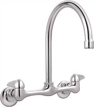 LEAD-FREE WALL MOUNTED HIGH-ARC SINK FAUCET WITH LEVER HANDLES
