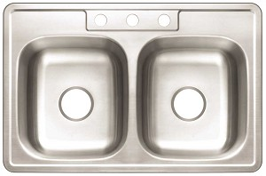 Stainless Steel 3-Hole Double Bowl Kitchen Sink (22-Gauge)