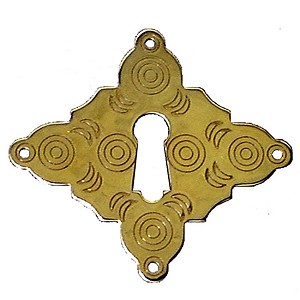 Keyhole Cover Plate Escutcheon, Chased Plate Colonial Revival