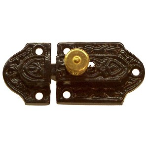 Black Cast Iron Cabinet Latch w/Brass Knob