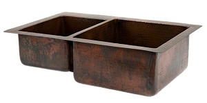 33 inch Copper Hammered Kitchen 40/60 Double Basin Sink