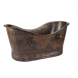 60 inch Hammered Copper Double Slipper Bathtub with Rings