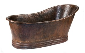 67 inch Hammered Copper Single Slipper Bathtub
