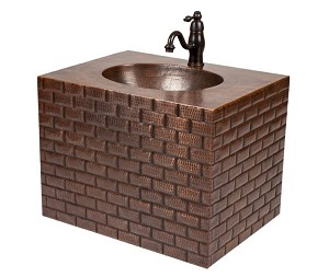 24 inch Hand Hammered Copper Wall Mount Vanity with Tuscan Design and Faucet Package/Combo