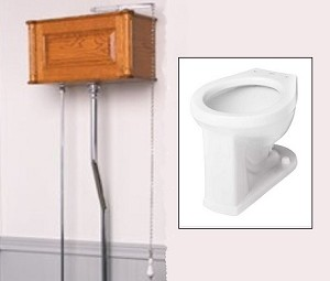 Solid Wood Victorian Panel High Tank Toilet with Porcelain Bowl
