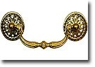 Swan Neck Drawer Pull, Oval Pierced Ornate Rosettes