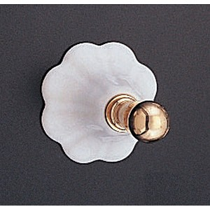 Fluted Porcelain and Brass Robe Hook