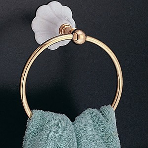 Fluted Porcelain and Brass Towel Ring