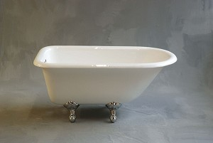 Harmony 4-Foot Clawfoot Tub Package w/ British Faucet and Shower Surround