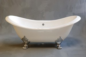 Crescent Double Ended Slipper Clawfoot Tub, Non-drilled