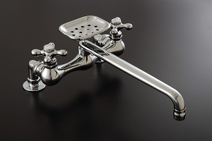 Madeira Kitchen Faucet w/ Soap Dish - Cross Point Handles