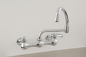 Madeira Wall Mount Kitchen Faucet w/ Pot Filler Spout and Lever Handles
