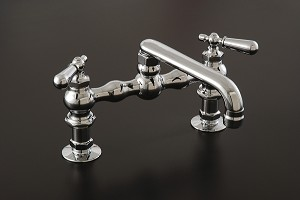 American Kitchen Faucet w/ Straight Short Spout and Lever Point Handles