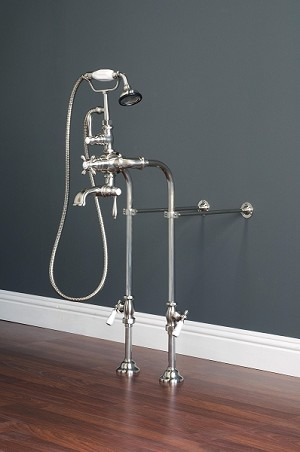 Thermostatic Over-the-Rim Telephone Faucet/Supply Set with Crosspoint Handles and Hand-held Shower
