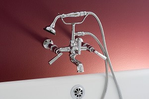 Wall Mount British Telephone Tub Faucet, Deco Lever Handles, Handheld Shower