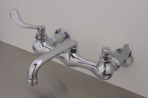 Madeira Wall Mount Kitchen Faucet, 6 inch Swivel Spout, Wing Lever Handles