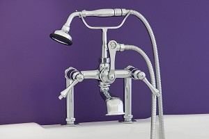 Deck Mount Telephone Faucet w/ Metal Handheld Shower