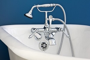 British Telephone Faucet with Lever Handles & Handheld Shower