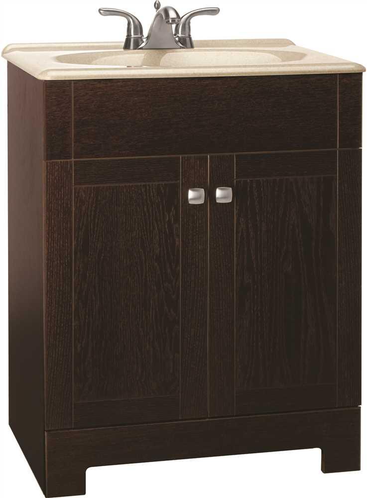 24 Inch Bathroom Vanity Cabinet Combo With Beige Top In Java Wood