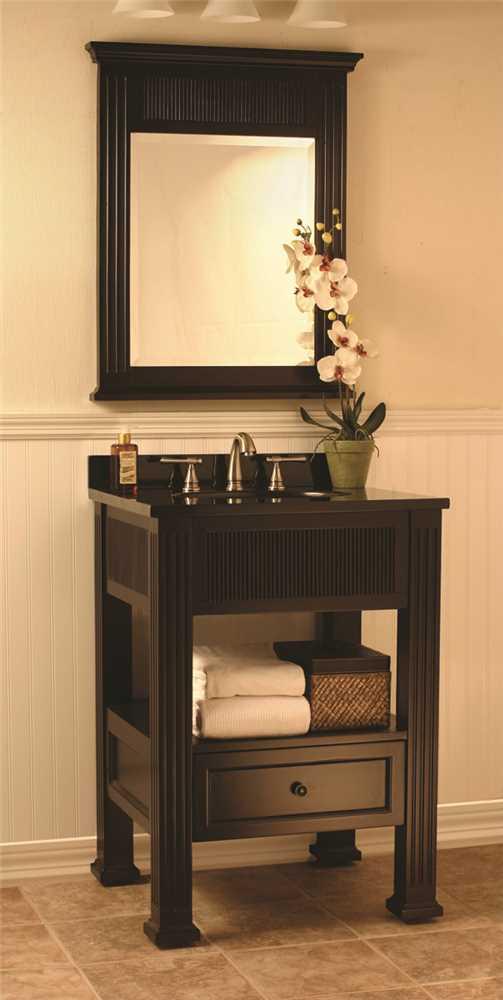 24-inch Bathroom Vanity Cabinet with Granite Top in Dark ...