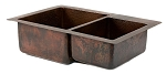 33 inch Copper Hammered Kitchen 60/40 Double Basin Sink