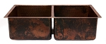 33 inch Copper Hammered Kitchen 50/50 Double Basin Sink