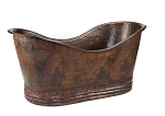 67 inch Hammered Copper Double Slipper Bathtub