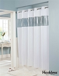 Hookless 71 inch x 74 inch White Vision Shower Curtain with Clear Vinyl Window