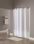 Hookless 71 inch x 74 inch White Plain Weave Polyester Shower Curtain