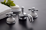 Sacramento Widespread Lavatory Faucet  With Porcelain Escutcheons and Brass Cross-Point Handles