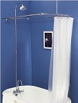 Leg Tub Shower Enclosure Set w/ Porcelain Lever Handles and Gooseneck Faucet