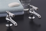 Antique Reproduction Lavatory Faucet Singles Set, Porcelain Levers