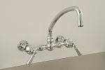 American Wall Mount Kitchen Faucet with Curved Spout and Lever Handles
