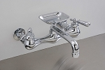 Madeira Wall Mount Kitchen Faucet w/ Straight Spout, Soapdish and Lever Handles