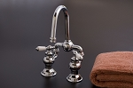 Adjustable Bridge Lavatory Faucet , Porcelain Lever Handles