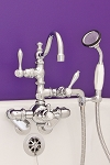 Thermostatic Leg Tub Faucet with Arch Spout & Handheld Shower