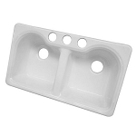 33-inch White Double Bowl Undermount Kitchen Sink