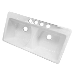 43-inch White Double Bowl Undermount Kitchen Sink