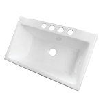 36-inch White Single Bowl Undermount Kitchen Sink