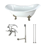 72-Inch Cast Iron Double Slipper Clawfoot Tub with Faucet Drain and Supply Lines Combo