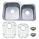 Undermount Double Bowl Kitchen Sink Combo With Strainer & Grid