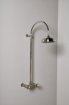 Exposed Wall Mount Gooseneck Shower Set with Cross Handles