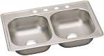 Stainless Steel 4-Hole Double Bowl Kitchen Sink (22-Gauge)