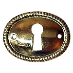 Keyhole Cover Plate Escutcheon, Horizontal Roped Oval