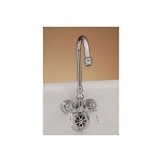 Gooseneck Spout Leg Tub Faucet with Porcelain Handles