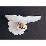 Fluted Porcelain and Brass Soap Dish
