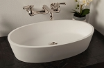 Oval Solid Surface Acrylic Sink, Matte White