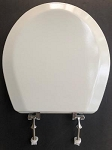 Standard Round Toilet Seat, White Painted Wood