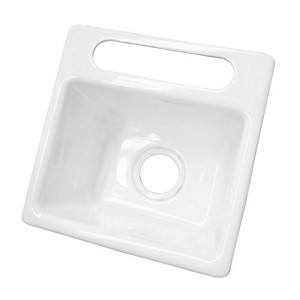 15-inch White Single Bowl Undermount Kitchen Sink
