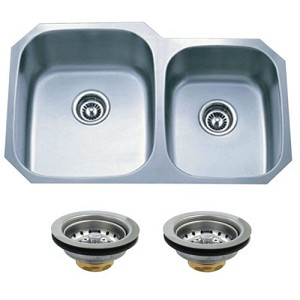 Undermount Stainless Steel Double Bowl Kitchen Sink Combo With Strainers
